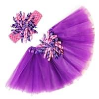Girls Hot Pink Purple Polka Dots Tutu Korker Bow Headband Combo 0-8Y