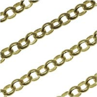 Antiqued Brass Round Rolo Chain 3.7mm Bulk By The Foot