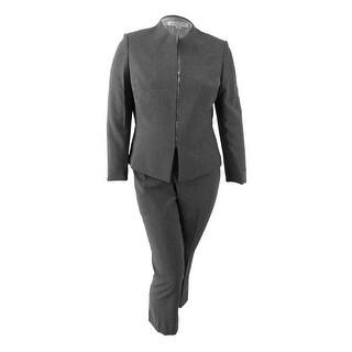 Tahari ASL Women's Plus Size Zip-Front Pantsuit (24W, Grey) - Grey - 24W
