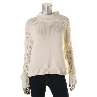 French Connection Womens Funnel-Neck Sweater Knit Open Stitch Sleeves