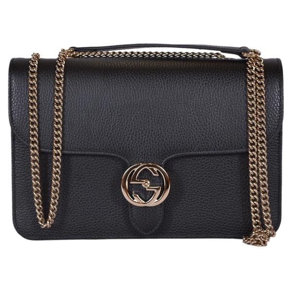 af658d1c3d8a Gucci 510303 Black Leather Interlocking GG Crossbody Purse Handbag - 11