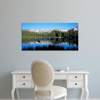 Easy Art Prints Panoramic Image 'The Indian Peaks reflected in Red Rock Lake Boulder Colorado USA' Premium Canvas Art