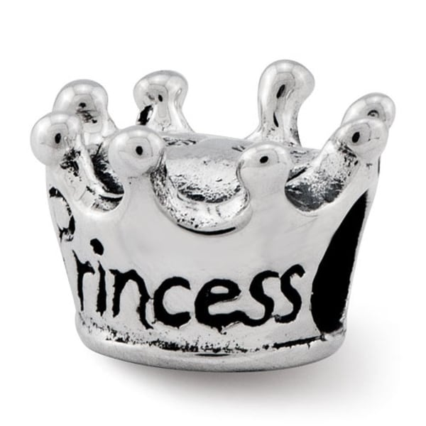 Sterling Silver Reflections Kids Princess Crown Bead (4mm Diameter Hole)