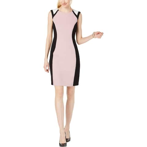 Connected Apparel Womens Wear to Work Dress Colorblock Sheath - Rose/Ivory/Black