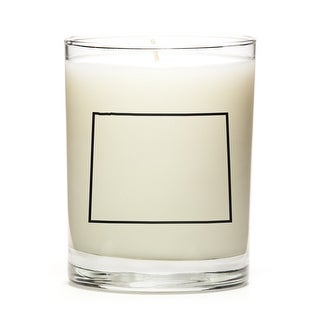 State Outline Soy Wax Candle, Wyoming State, Peach Belini