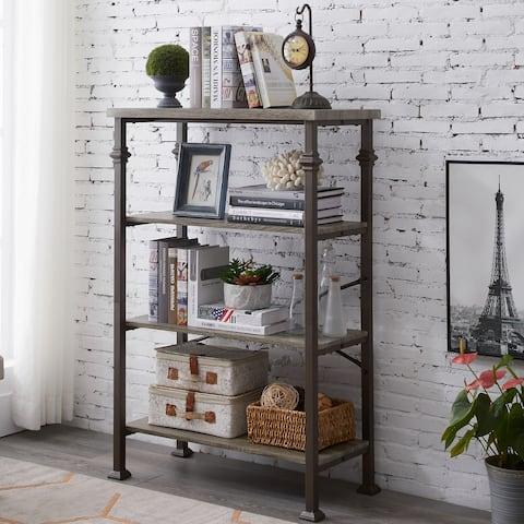 Industrial 4-Tier Open Bookcase Metal Storage Bookshelf