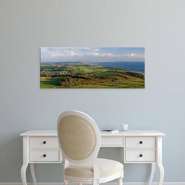 Easy Art Prints Panoramic Image 'Chapel on a hill, St Catherine's Chapel, Abbotsbury, Dorset, England' Canvas Art