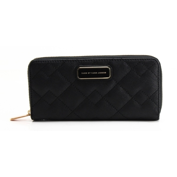 c03853ffc4d Shop Marc by Marc Jacobs NEW Black Saffiano Quilted Slim Zip Around ...