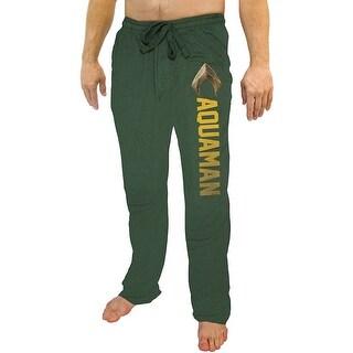 DC Comics Men's Justice League Aquaman Character Logo's Lounge Pajama Pants