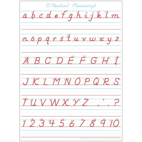 "Smart Poly® Single Sided PosterMat Pals® Space Savers, D'Nealian Manuscript Handwriting, 13"" x 9.5"""
