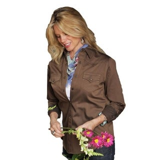 Miller Ranch Western Shirt Womens Pinpoint Twill L/S Brown DSW4205001