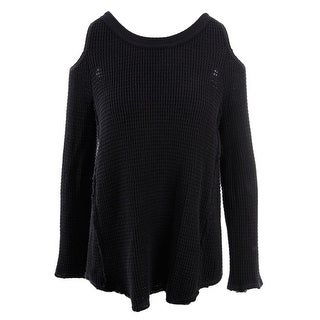 Free People Womens Pullover Sweater Waffle Knit Cold Shoulder