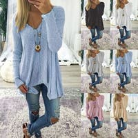 V-Neck and V-Hem Long Sleeve Tunic