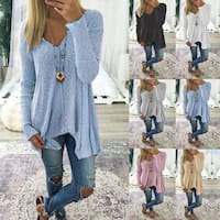 V neck Irregular Hem Long Sleeve Shirt Tunic
