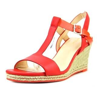 Cole Haan Elizabeth Wedge Women Open Toe Leather Red Wedge Heel