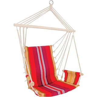 Club Fun Cushioned Hanging Rope Chair with Arm Rests