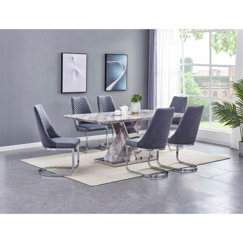 Best Quality Furniture Faux Marble 7-piece Dining Set with X-Base