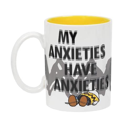 Charlie Brown My Anxieties Have Anxieties Peanuts Mug, Funny Decorative Stoneware Coffee Cup for Drinking Tea, Juice, Water