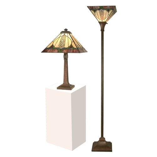 Dale Tiffany TC11173 Stanton Mission Table & Torchiere Set with 1 Light