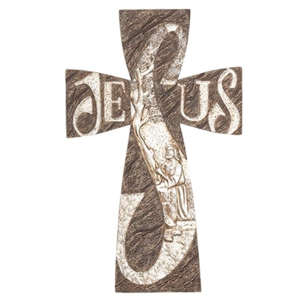 """10"""" Brown and White Cross Shaped Christ in Gethsemane Wall decor - N/A"""