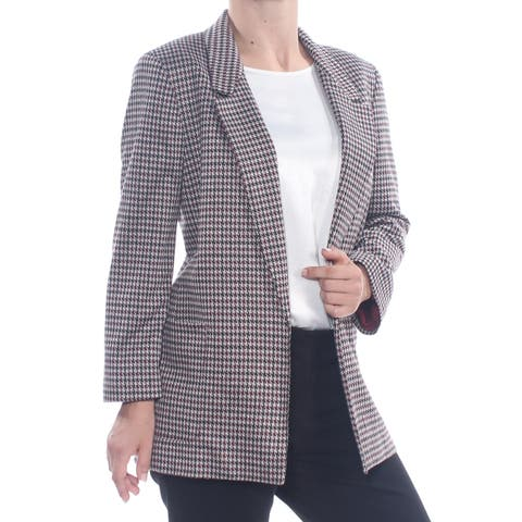 NINE WEST Womens Maroon Check Suit Wear To Work Jacket Plus Size: 3X