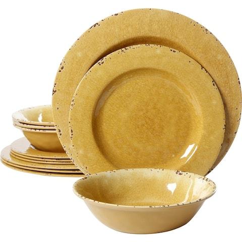 Studio California Luna 12 Pc Dinnerware Set in Yellow Crackle Decal