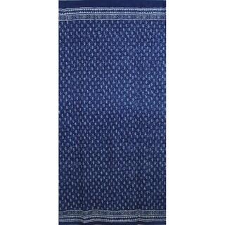 Handmade 100% Cotton Indigo Dabu Block Print Curtain Drape Panel 46x88 - 46x88 inches