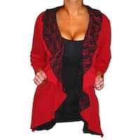 Funfash Plus Size Cardigan Red Black Lace Layered New Womens Sweater
