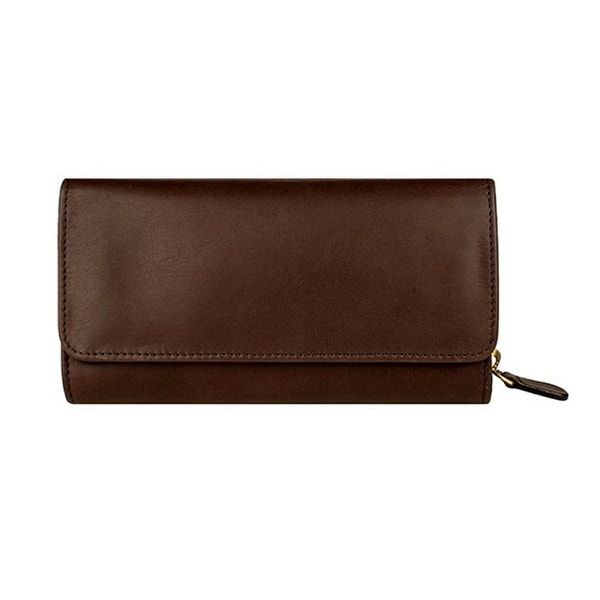 Scully Western Mens Wallet Pebbled Calf Three Way Zip Chocolate - One size