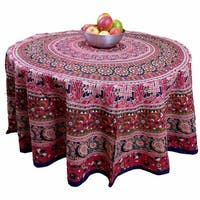 "Handmade 100% Cotton Elephant Mandala Floral 81"" Round Tablecloth Red"