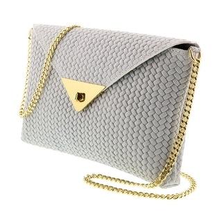 HS1181 BI TIA White Leather Clutch/Shoulder Bag