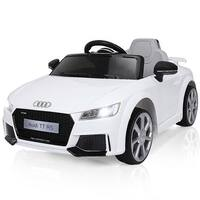 Costway White 12V Audi TT RS Electric Kids Ride On Car Licensed Remote Control MP3