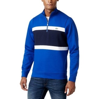 Lacoste Mens Big & Tall 1/2 Zip Sweater Colorblock Mock Neck
