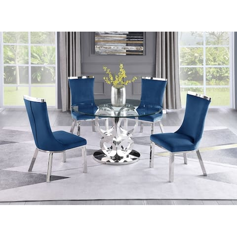 Best Quality Furniture Clear Glass 5pc Dinette w/Stainless Steel