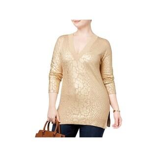 MICHAEL Michael Kors Womens Plus Pullover Sweater Metallic Animal Print