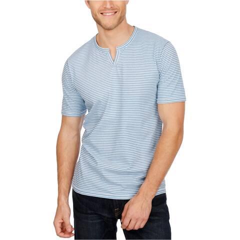 Lucky Brand Mens Notch-Neck Striped Graphic T-Shirt