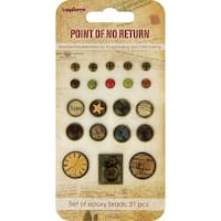 Scrapberry's Point Of No Return Epoxy Brads-Solids & Vintage Patterns 21/Pkg