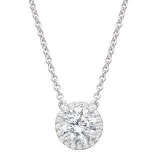 Halo Necklace With Swarovski Zirconia In Sterling Silver White