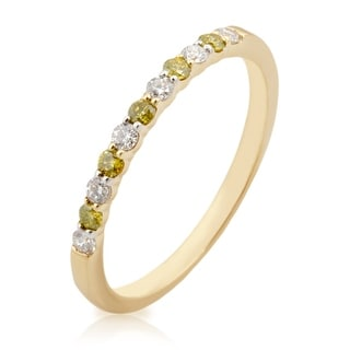 Beautiful 0.25 Carat Natural Yellow & White Diamond Anniversary Band Ring