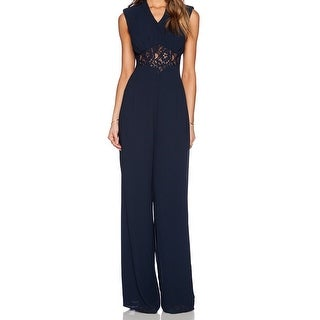 Jarlo NEW Blue Women's Size 14 Wide Leg Lace Illusion Jumpsuit