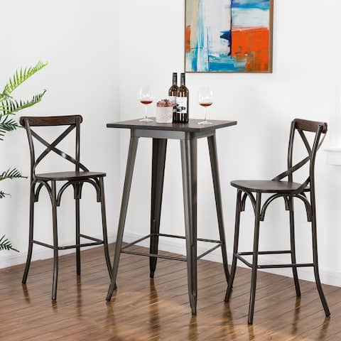 """Glitzhome 43""""H Rustic Steel Square Bar Table or set of 2 Bar Stools with Elm Wood Seat and Back or Pub Set"""
