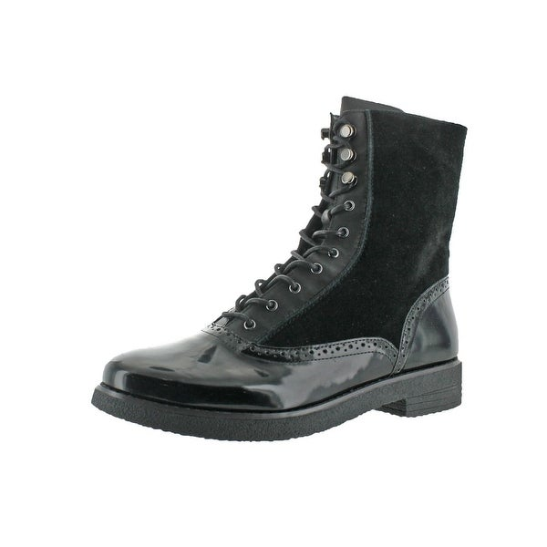 French Connection Womens Vanja Combat Boots Leather Brogue - 10 medium (b,m)