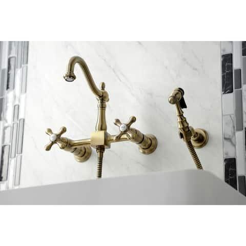 Heritage Wall Mount Bridge Kitchen Faucet with Brass Sprayer