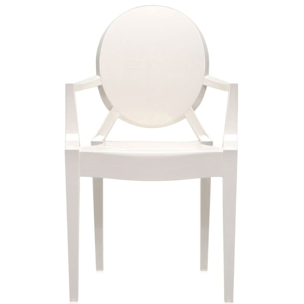 2xhome  White Plastic Dining Stacking Chair With Arms Armchair Acrylic For Kitchen Restaurant Bedroom Designer Patio Garden
