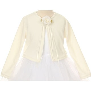 Flower Girl Long Sleeves Cotton Cardigan with Pearl Ivory KD 133