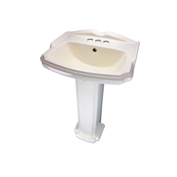 Traditional Pedestal Sink Biscuit China Cloakroom Centerset