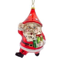 Pack of 6 Santa Claus with Mushroom Hat Glass Christmas Ornament 4.5""
