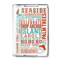 Seaside, California - Christmas Typography - Lantern Press Artwork (Acrylic Serving Tray)