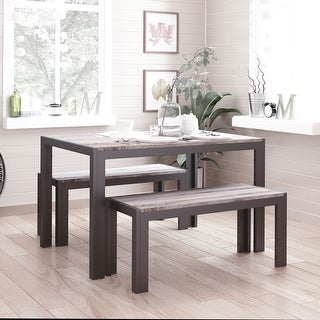 Link to Zenvida Dining Set Table and Two Benches Modern Style, Seats 4 Similar Items in Kitchen & Dining Room Chairs
