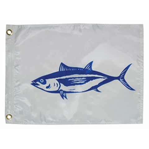 """7"""" White and Blue Unique Taylor Made 12x18 Tuna Boat Flag"""